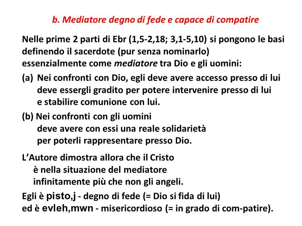 b. Mediatore degno di fede e capace di compatire Nelle prime 2 parti di Ebr (1,5-2,18; 3,1-5,10) si pongono le basi definendo il sacerdote (pur senza