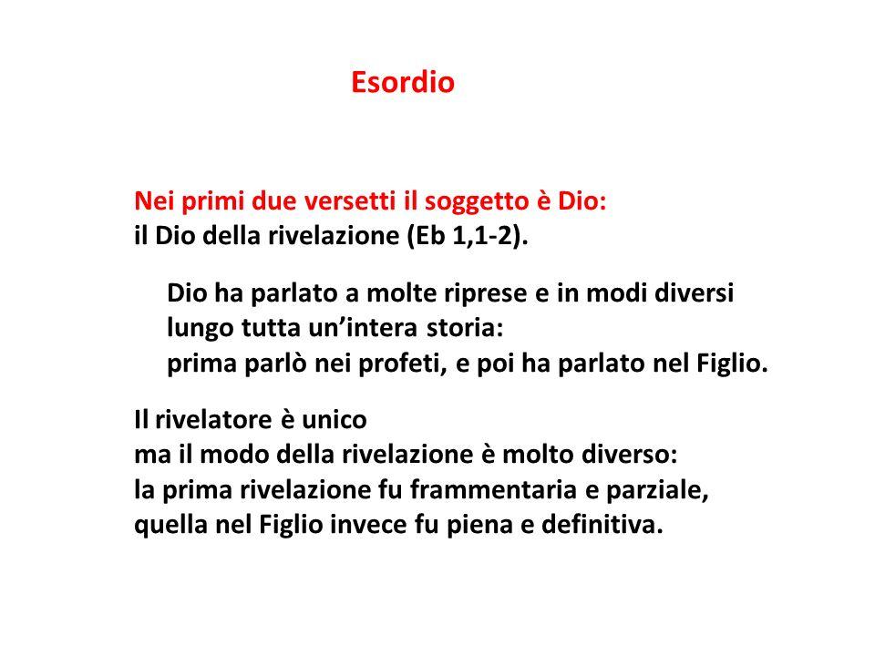 Nei primi due versetti il soggetto è Dio: il Dio della rivelazione (Eb 1,1-2). Dio ha parlato a molte riprese e in modi diversi lungo tutta unintera s