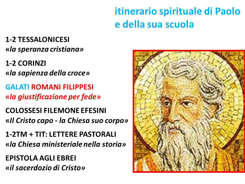 itinerario spirituale di Paolo e della sua scuola 1-2 TESSALONICESI «la speranza cristiana» 1-2 CORINZI «la sapienza della croce» GALATI ROMANI FILIPP