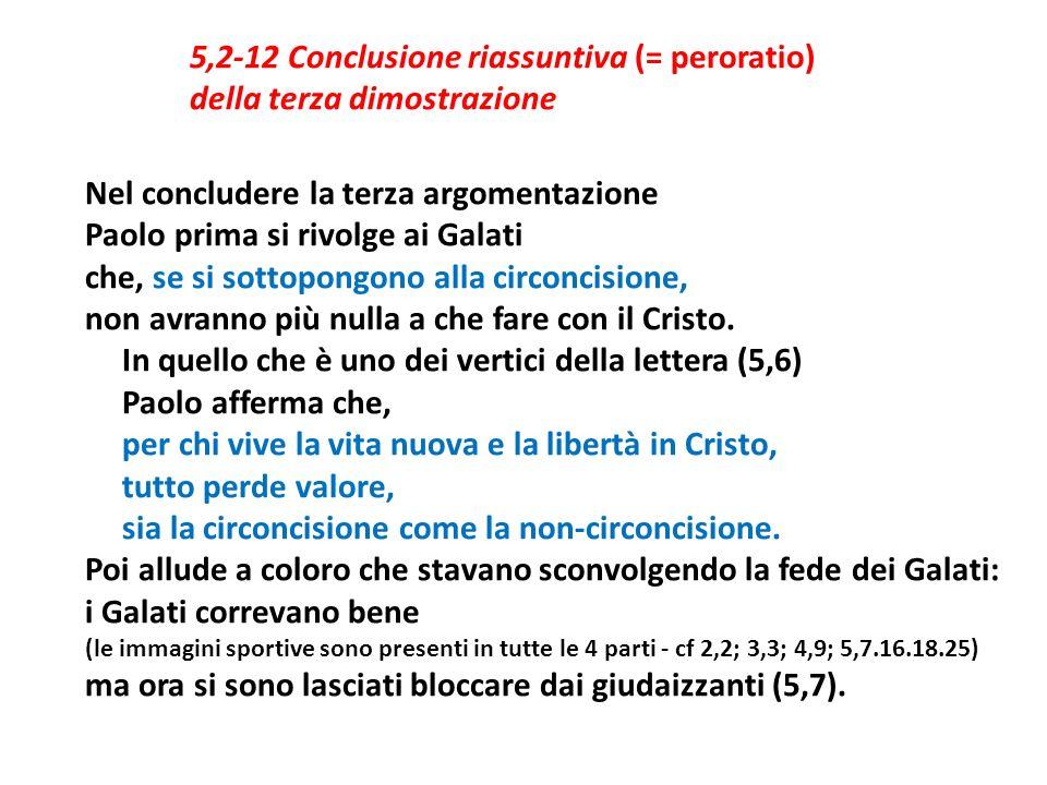 5,2-12 Conclusione riassuntiva (= peroratio) della terza dimostrazione Nel concludere la terza argomentazione Paolo prima si rivolge ai Galati che, se