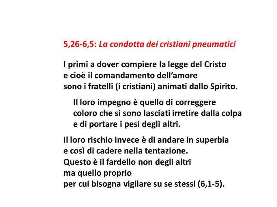 5,26-6,5: La condotta dei cristiani pneumatici I primi a dover compiere la legge del Cristo e cioè il comandamento dellamore sono i fratelli (i cristi