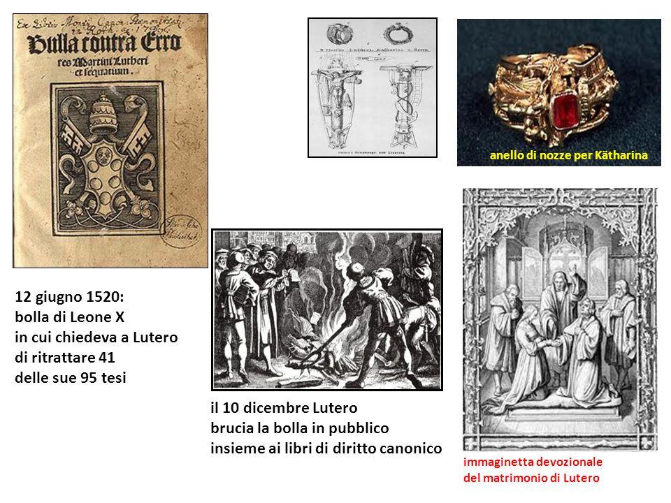 anello di nozze per Kätharina immaginetta devozionale del matrimonio di Lutero 12 giugno 1520: bolla di Leone X in cui chiedeva a Lutero di ritrattare