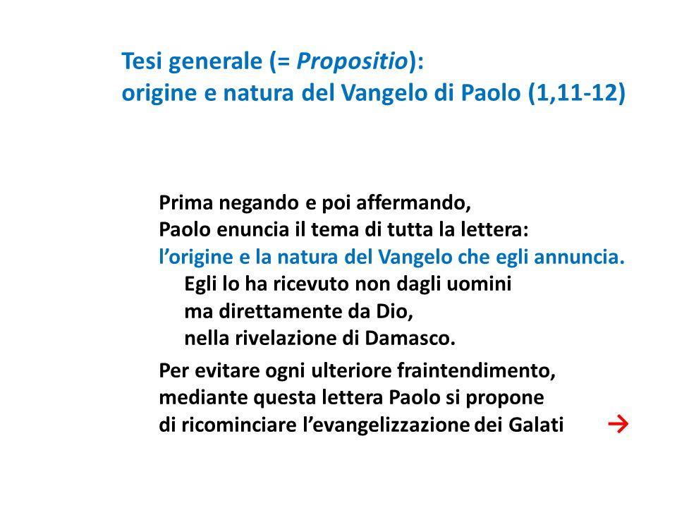 Prima negando e poi affermando, Paolo enuncia il tema di tutta la lettera: lorigine e la natura del Vangelo che egli annuncia. Egli lo ha ricevuto non