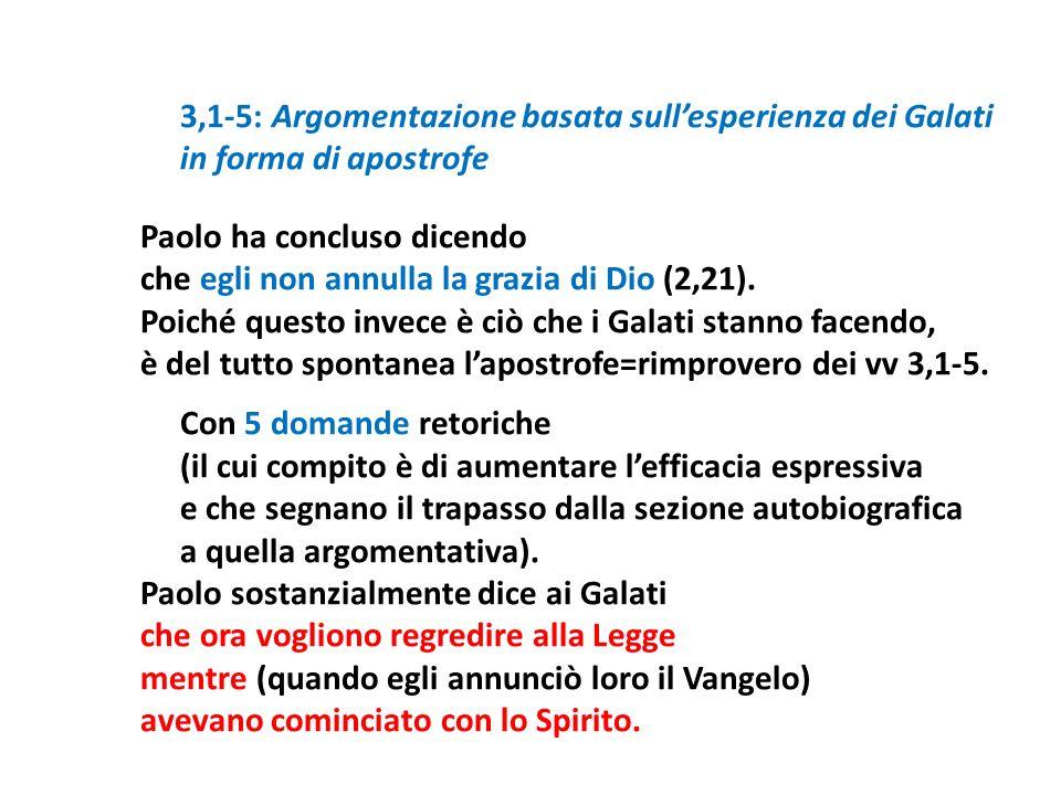 3,1-5: Argomentazione basata sullesperienza dei Galati in forma di apostrofe Paolo ha concluso dicendo che egli non annulla la grazia di Dio (2,21). P