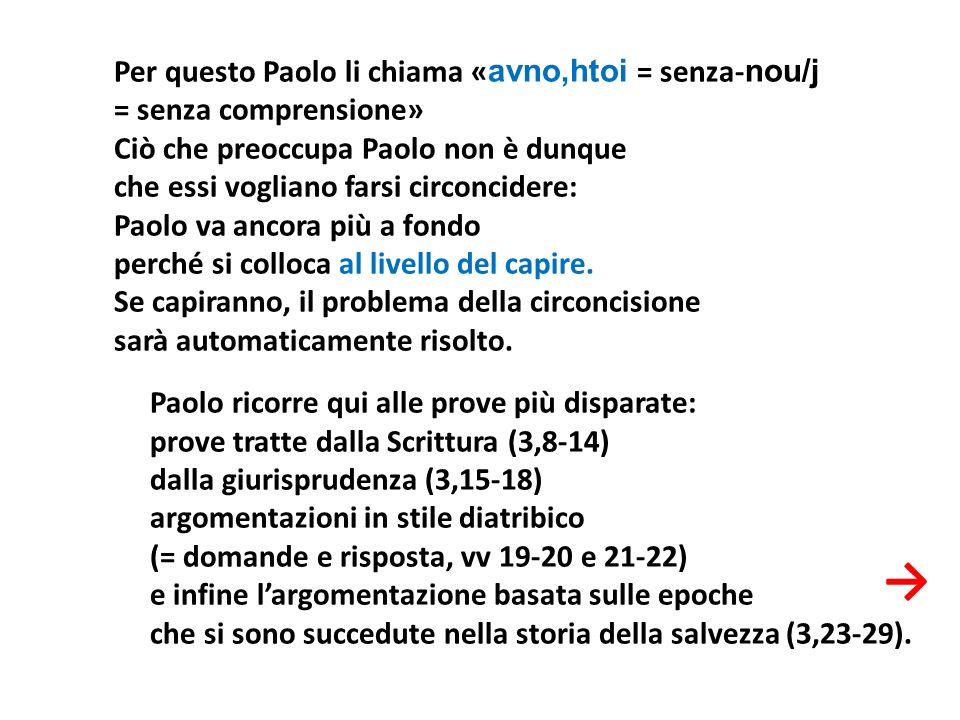 Per questo Paolo li chiama « avno,htoi = senza- nou/j = senza comprensione» Ciò che preoccupa Paolo non è dunque che essi vogliano farsi circoncidere: