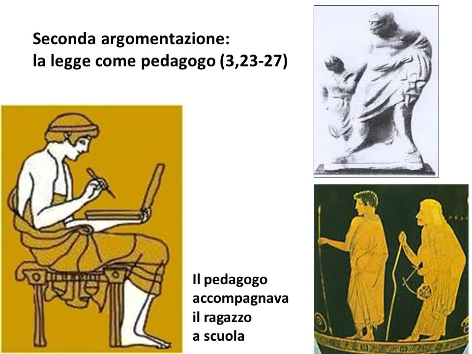 Il pedagogo accompagnava il ragazzo a scuola Seconda argomentazione: la legge come pedagogo (3,23-27)