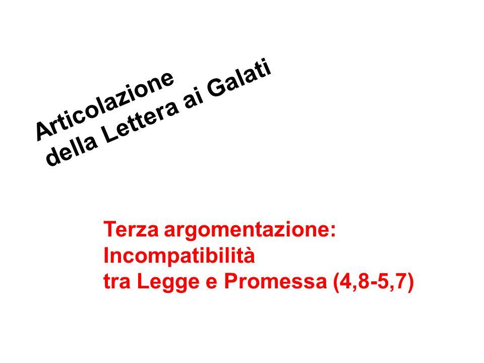 Articolazione della Lettera ai Galati Terza argomentazione: Incompatibilità tra Legge e Promessa (4,8-5,7)