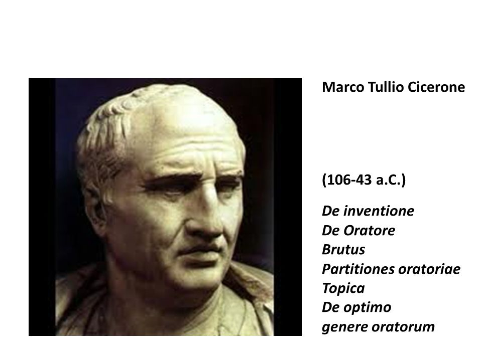 Marco Tullio Cicerone (106-43 a.C.) De inventione De Oratore Brutus Partitiones oratoriae Topica De optimo genere oratorum