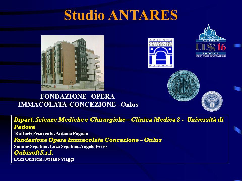 Studio ANTARES Dipart. Scienze Mediche e Chirurgiche – Clinica Medica 2 - Università di Padova Raffaele Pesavento, Antonio Pagnan Fondazione Opera Imm