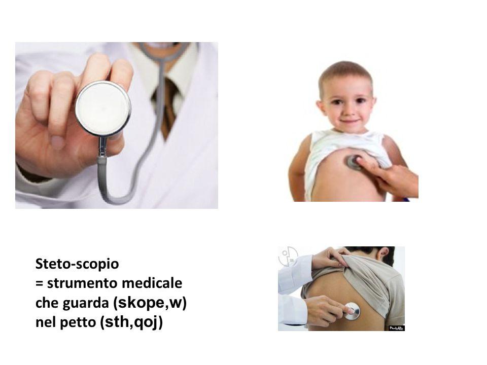 Steto-scopio = strumento medicale che guarda ( skope,w ) nel petto ( sth,qoj )