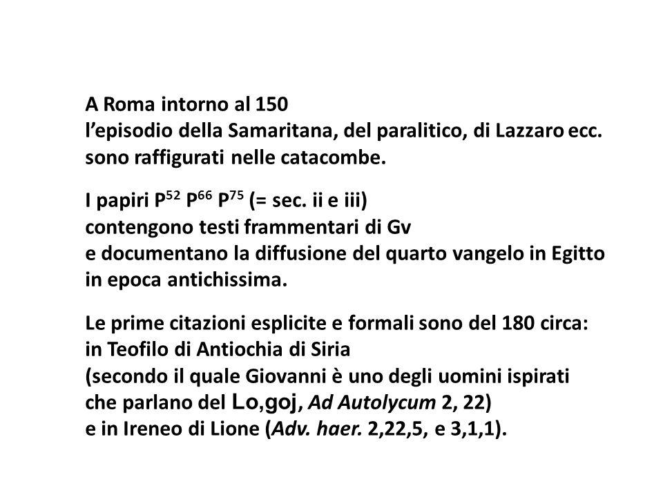A Roma intorno al 150 lepisodio della Samaritana, del paralitico, di Lazzaro ecc. sono raffigurati nelle catacombe. I papiri P 52 P 66 P 75 (= sec. ii