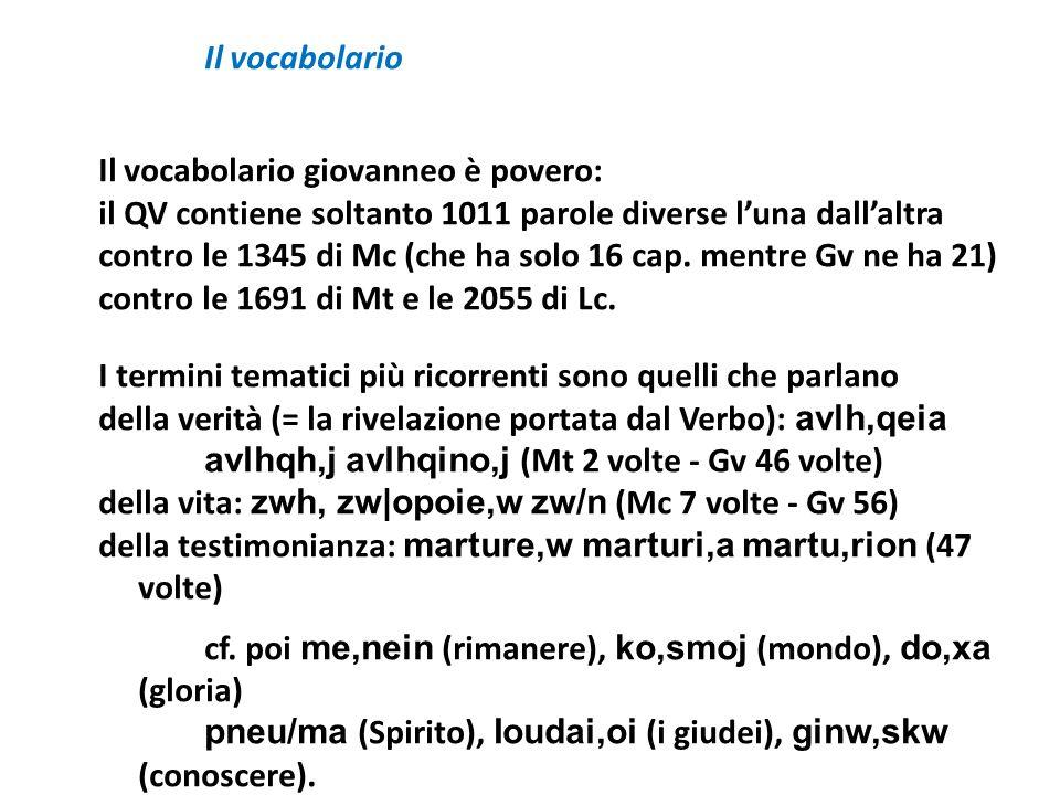 Il vocabolario Il vocabolario giovanneo è povero: il QV contiene soltanto 1011 parole diverse luna dallaltra contro le 1345 di Mc (che ha solo 16 cap.