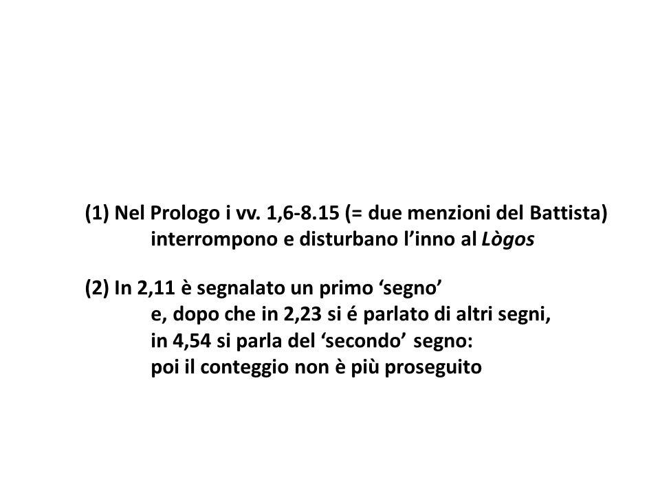 (1) Nel Prologo i vv. 1,6 8.15 (= due menzioni del Battista) interrompono e disturbano linno al Lògos (2) In 2,11 è segnalato un primo segno e, dopo c