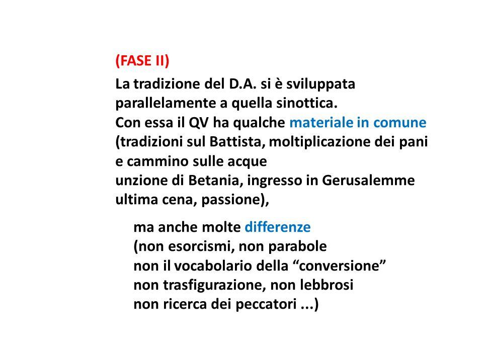 (FASE II) La tradizione del D.A. si è sviluppata parallelamente a quella sinottica. Con essa il QV ha qualche materiale in comune (tradizioni sul Batt