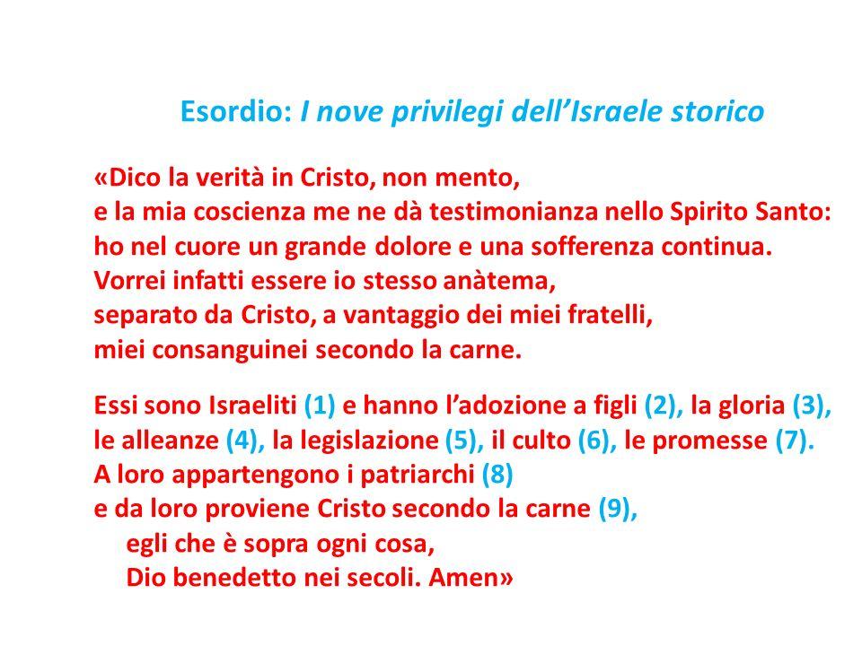 Esordio: I nove privilegi dellIsraele storico «Dico la verità in Cristo, non mento, e la mia coscienza me ne dà testimonianza nello Spirito Santo: ho