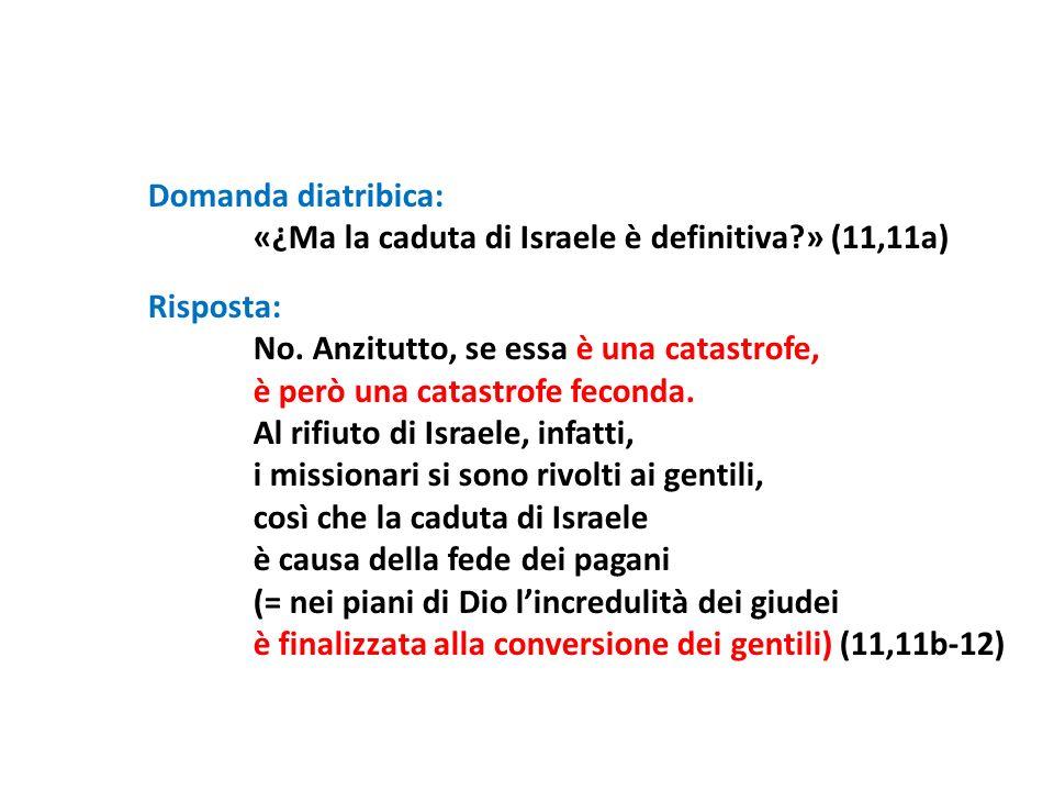 Domanda diatribica: «¿Ma la caduta di Israele è definitiva?» (11,11a) Risposta: No. Anzitutto, se essa è una catastrofe, è però una catastrofe feconda