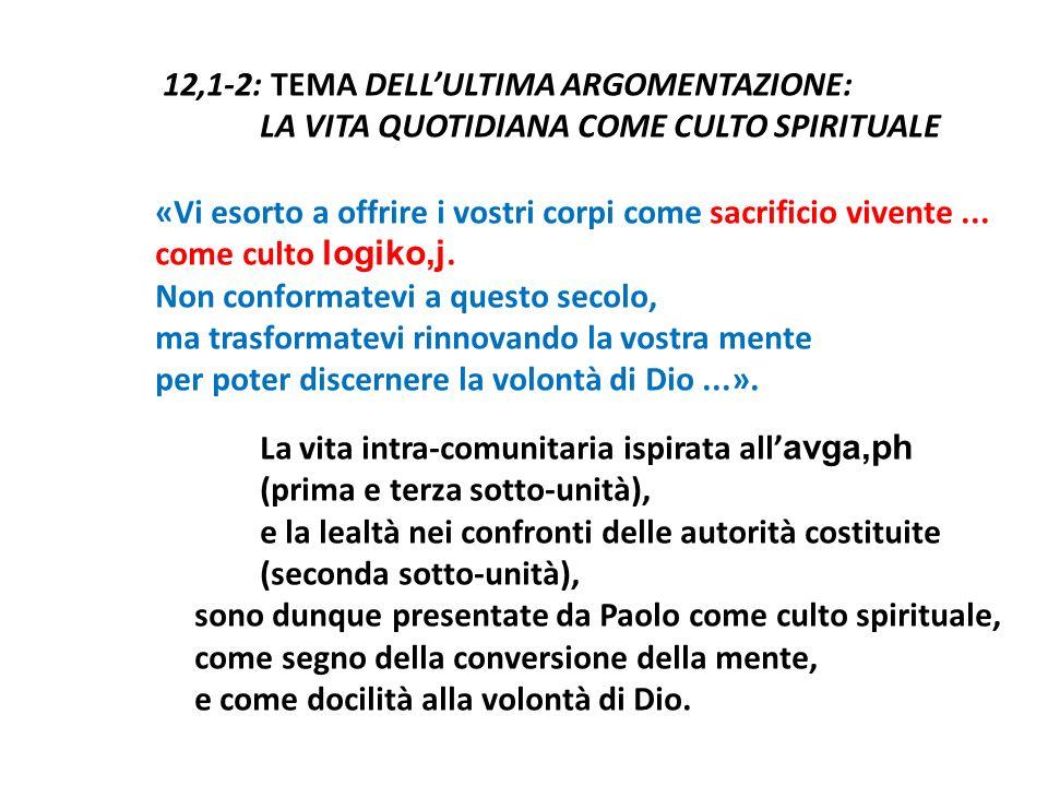 12,1-2: TEMA DELLULTIMA ARGOMENTAZIONE: LA VITA QUOTIDIANA COME CULTO SPIRITUALE «Vi esorto a offrire i vostri corpi come sacrificio vivente...