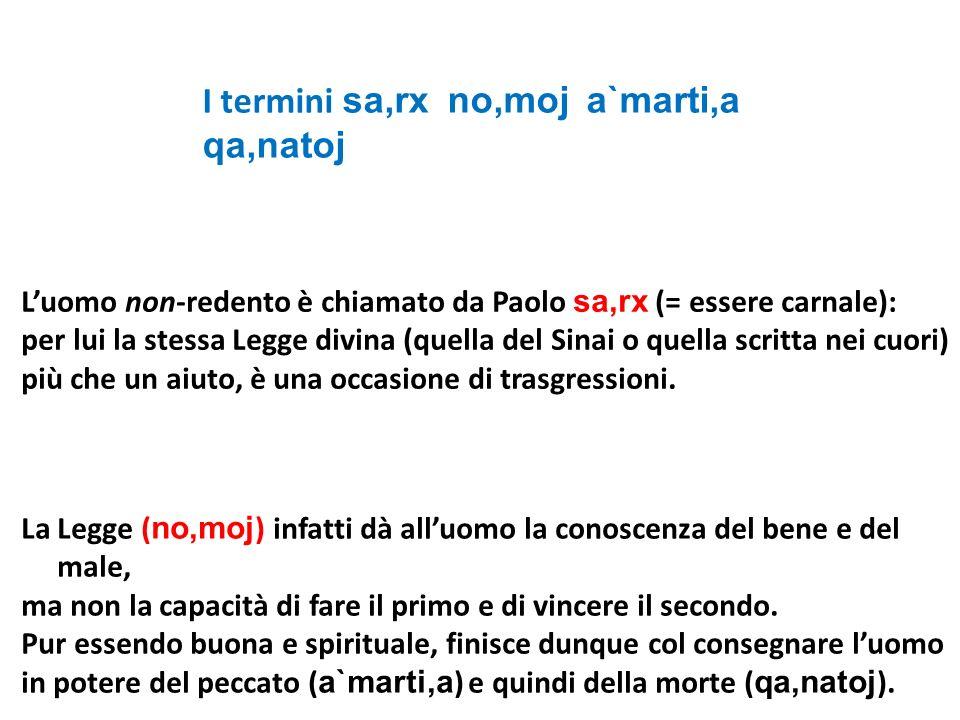 Luomo non-redento è chiamato da Paolo sa,rx (= essere carnale): per lui la stessa Legge divina (quella del Sinai o quella scritta nei cuori) più che u