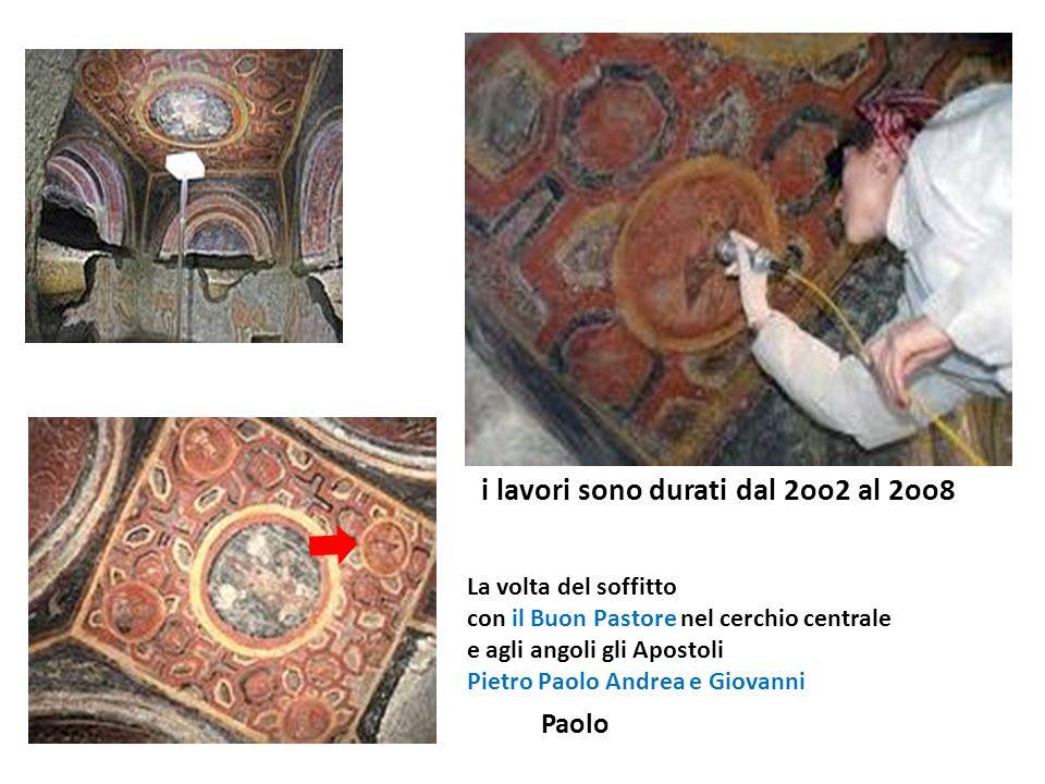 La volta del soffitto con il Buon Pastore nel cerchio centrale e agli angoli gli Apostoli Pietro Paolo Andrea e Giovanni i lavori sono durati dal 2oo2 al 2oo8 Paolo