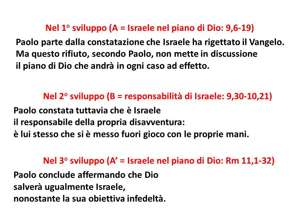 Nel 2 o sviluppo (B = responsabilità di Israele: 9,30-10,21) Paolo constata tuttavia che è Israele il responsabile della propria disavventura: è lui stesso che si è messo fuori gioco con le proprie mani.