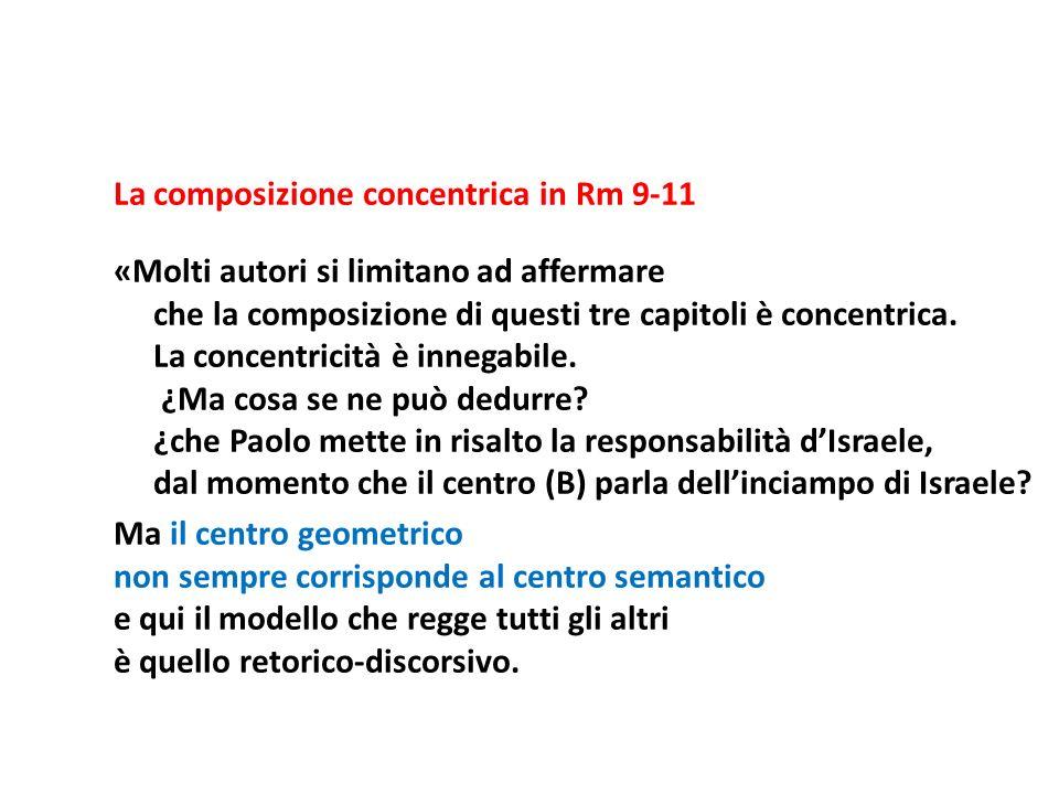 La composizione concentrica in Rm 9-11 «Molti autori si limitano ad affermare che la composizione di questi tre capitoli è concentrica. La concentrici
