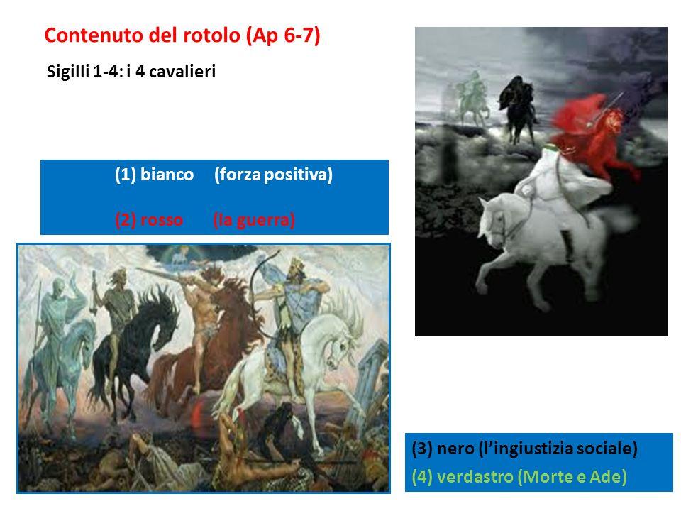 Contenuto del rotolo (Ap 6-7) (3) nero (lingiustizia sociale) (4) verdastro (Morte e Ade) (1) bianco (forza positiva) (2) rosso (la guerra) Sigilli 1-