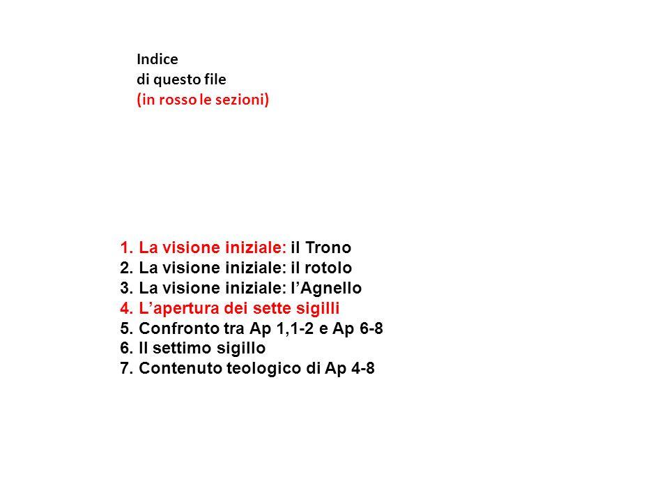 Indice di questo file (in rosso le sezioni) 1. La visione iniziale: il Trono 2. La visione iniziale: il rotolo 3. La visione iniziale: lAgnello 4. Lap