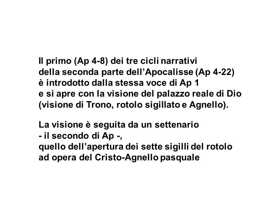 Il primo (Ap 4-8) dei tre cicli narrativi della seconda parte dellApocalisse (Ap 4-22) è introdotto dalla stessa voce di Ap 1 e si apre con la visione
