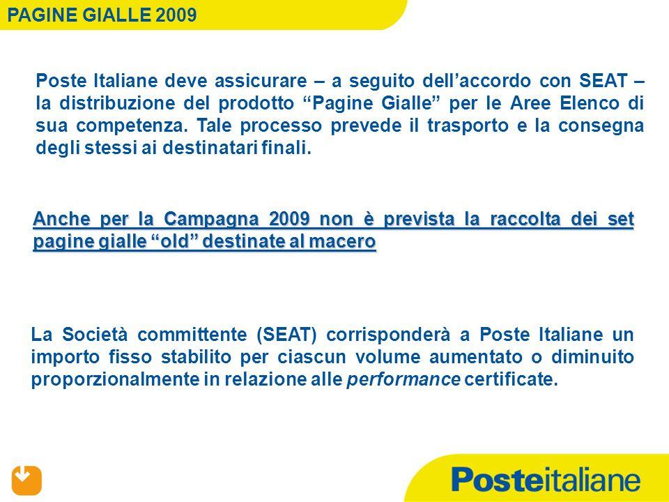 Poste Italiane deve assicurare – a seguito dellaccordo con SEAT – la distribuzione del prodotto Pagine Gialle per le Aree Elenco di sua competenza. Ta