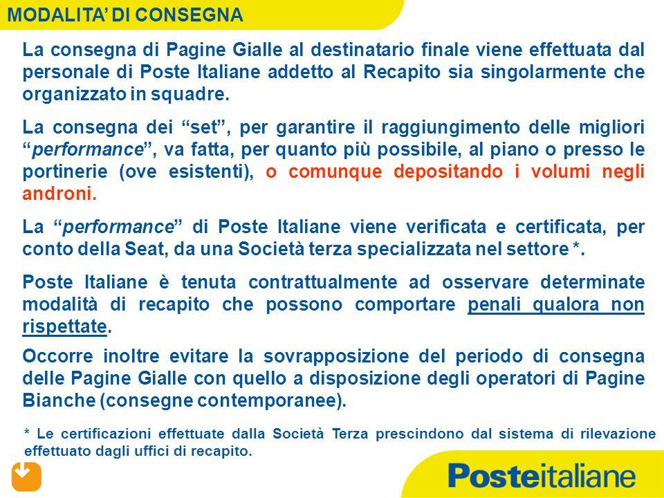 MODALITA DI CONSEGNA La consegna di Pagine Gialle al destinatario finale viene effettuata dal personale di Poste Italiane addetto al Recapito sia sing