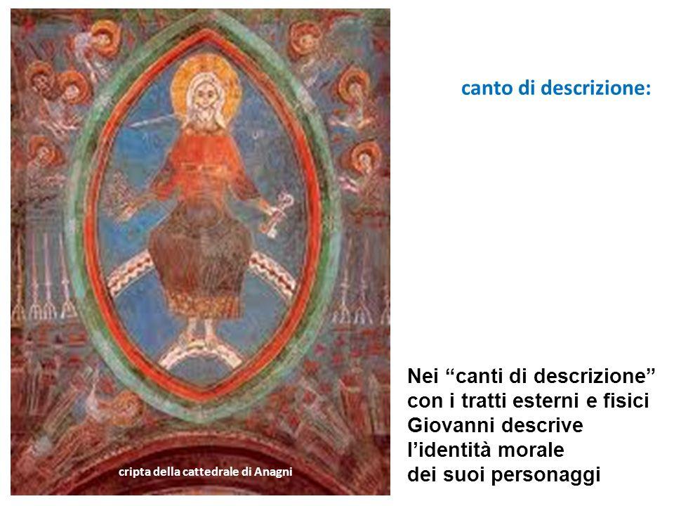 canto di descrizione: cripta della cattedrale di Anagni Nei canti di descrizione con i tratti esterni e fisici Giovanni descrive lidentità morale dei suoi personaggi