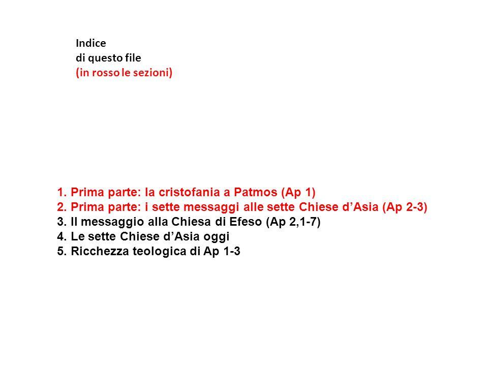 Indice di questo file (in rosso le sezioni) 1. Prima parte: la cristofania a Patmos (Ap 1) 2. Prima parte: i sette messaggi alle sette Chiese dAsia (A
