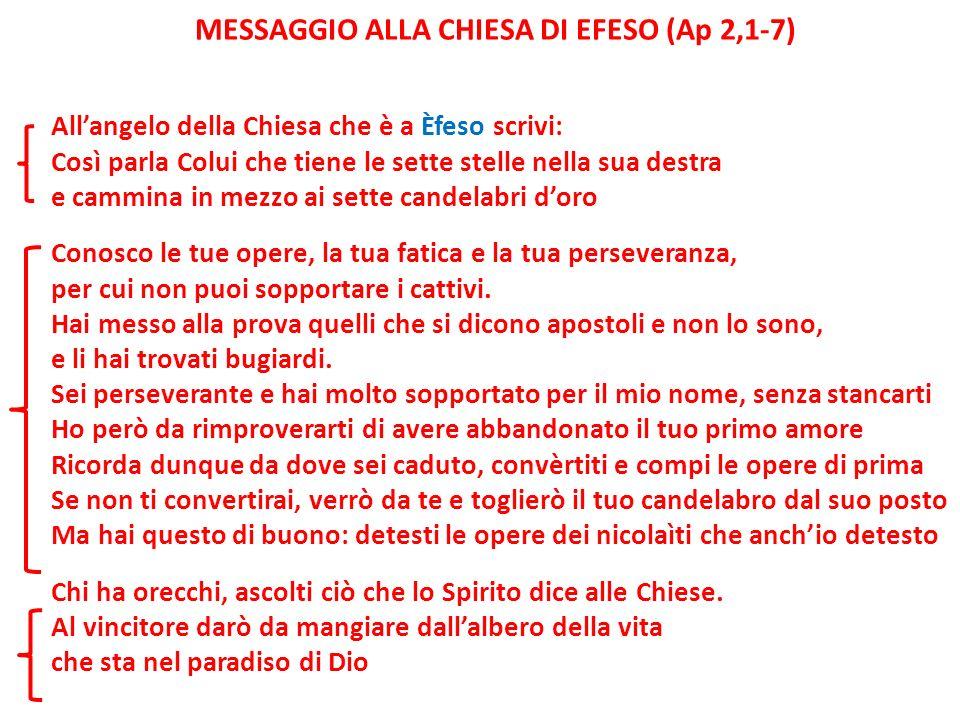 MESSAGGIO ALLA CHIESA DI EFESO (Ap 2,1-7) Allangelo della Chiesa che è a Èfeso scrivi: Così parla Colui che tiene le sette stelle nella sua destra e c