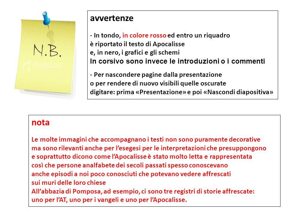 avvertenze - In tondo, in colore rosso ed entro un riquadro è riportato il testo di Apocalisse e, in nero, i grafici e gli schemi In corsivo sono inve