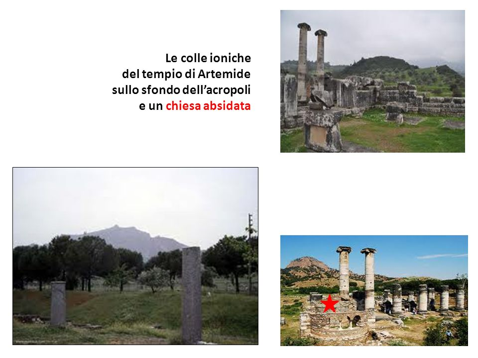 Le colle ioniche del tempio di Artemide sullo sfondo dellacropoli e un chiesa absidata
