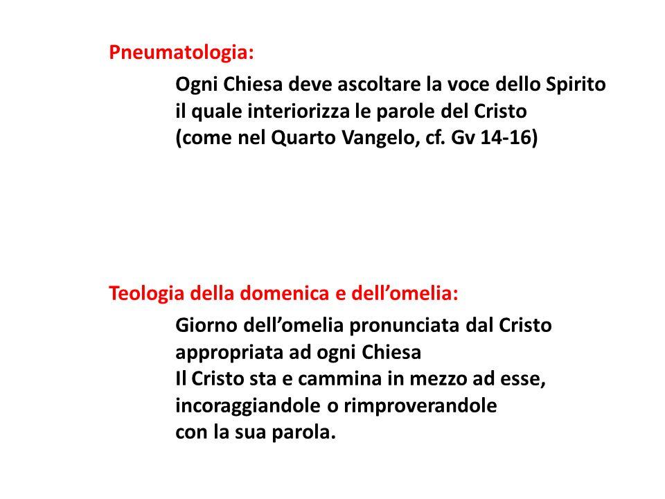 Pneumatologia: Ogni Chiesa deve ascoltare la voce dello Spirito il quale interiorizza le parole del Cristo (come nel Quarto Vangelo, cf. Gv 14-16) Teo