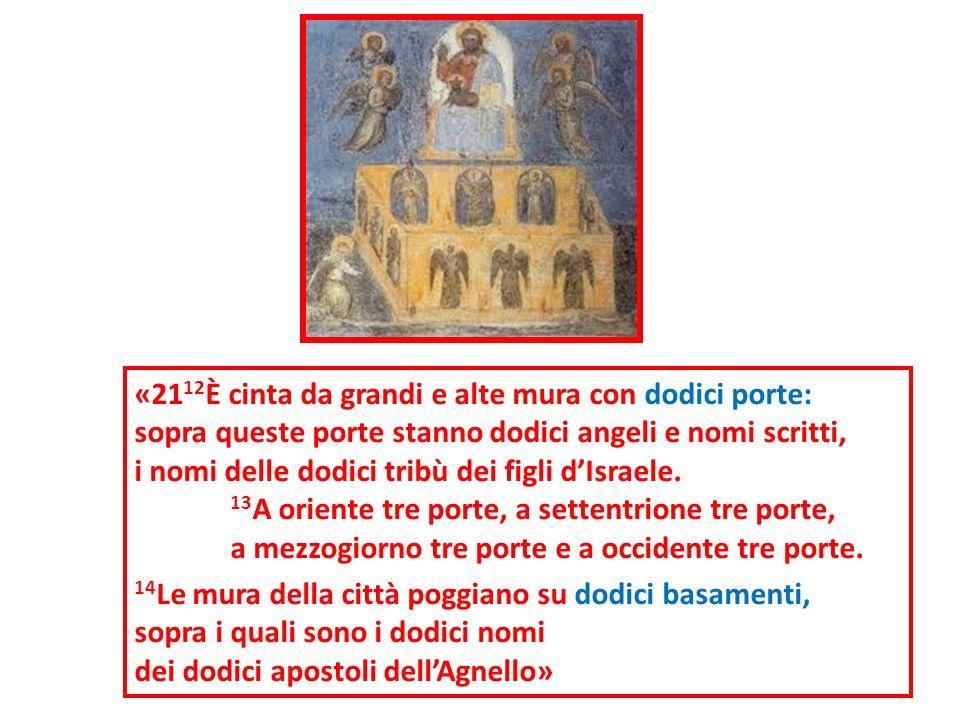 «21 12 È cinta da grandi e alte mura con dodici porte: sopra queste porte stanno dodici angeli e nomi scritti, i nomi delle dodici tribù dei figli dIs