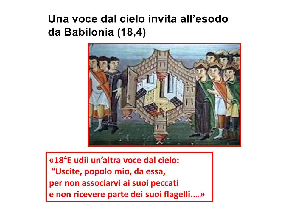 Una voce dal cielo invita allesodo da Babilonia (18,4) «18 4 E udii unaltra voce dal cielo: Uscite, popolo mio, da essa, per non associarvi ai suoi pe