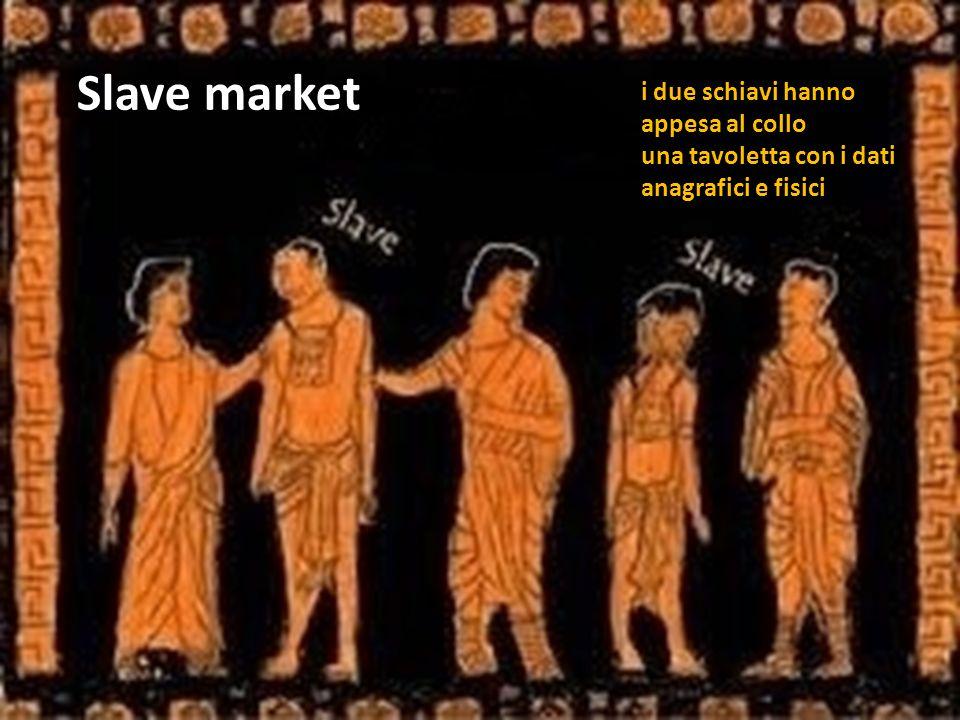 Slave market i due schiavi hanno appesa al collo una tavoletta con i dati anagrafici e fisici