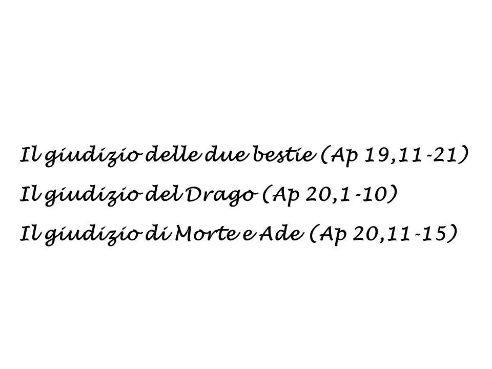 Il giudizio delle due bestie (Ap 19,11-21) Il giudizio del Drago (Ap 20,1-10) Il giudizio di Morte e Ade (Ap 20,11-15)
