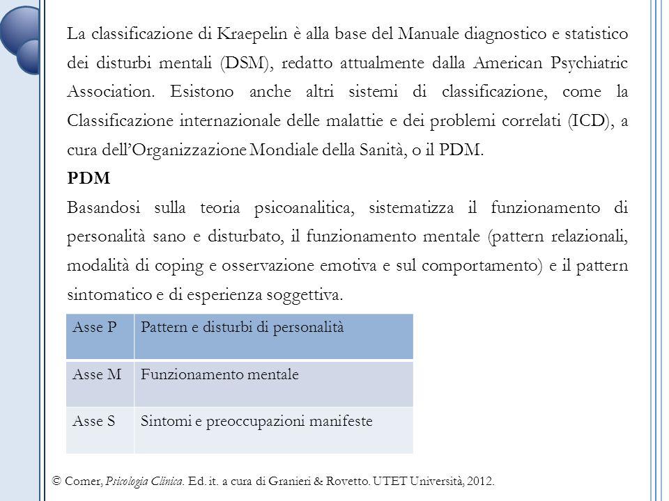 La classificazione di Kraepelin è alla base del Manuale diagnostico e statistico dei disturbi mentali (DSM), redatto attualmente dalla American Psychiatric Association.