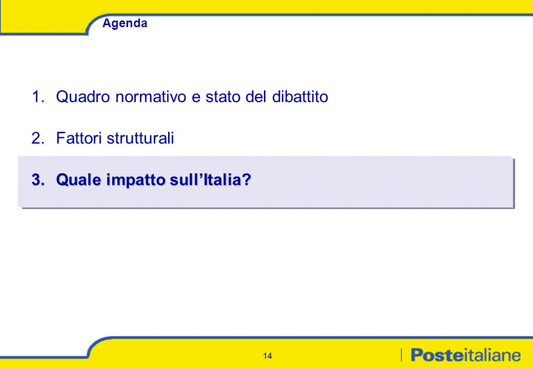 14 Agenda 1.Quadro normativo e stato del dibattito 2.Fattori strutturali 3.Quale impatto sullItalia?