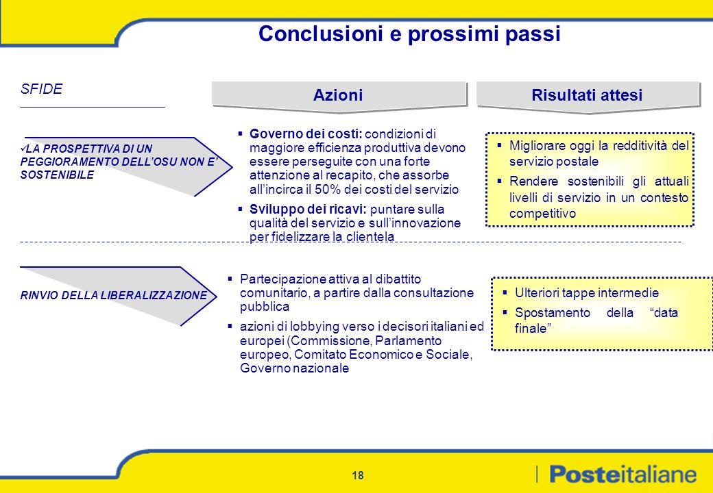18 Conclusioni e prossimi passi SFIDE Partecipazione attiva al dibattito comunitario, a partire dalla consultazione pubblica azioni di lobbying verso