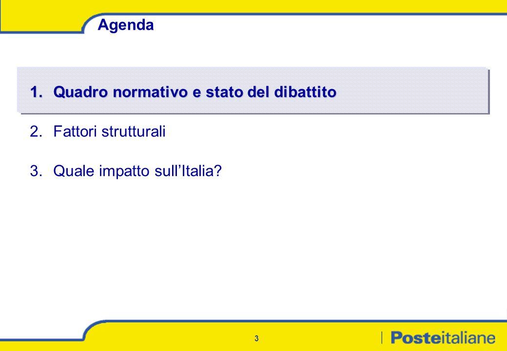 3 Agenda 1.Quadro normativo e stato del dibattito 2.Fattori strutturali 3.Quale impatto sullItalia?