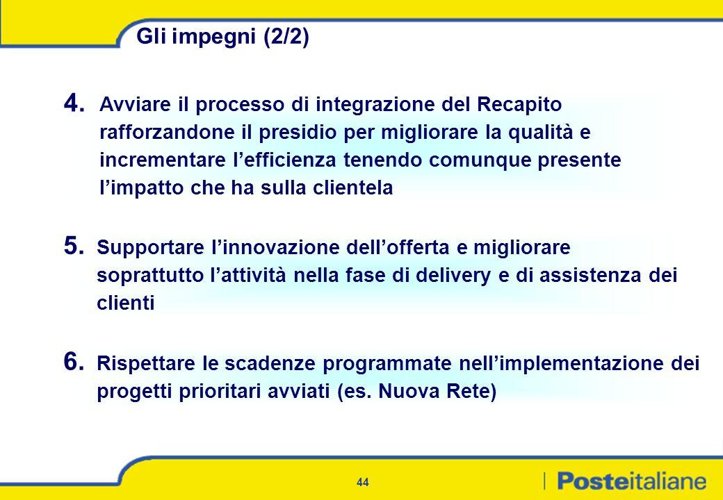 44 Gli impegni (2/2) 4. Avviare il processo di integrazione del Recapito rafforzandone il presidio per migliorare la qualità e incrementare lefficienz