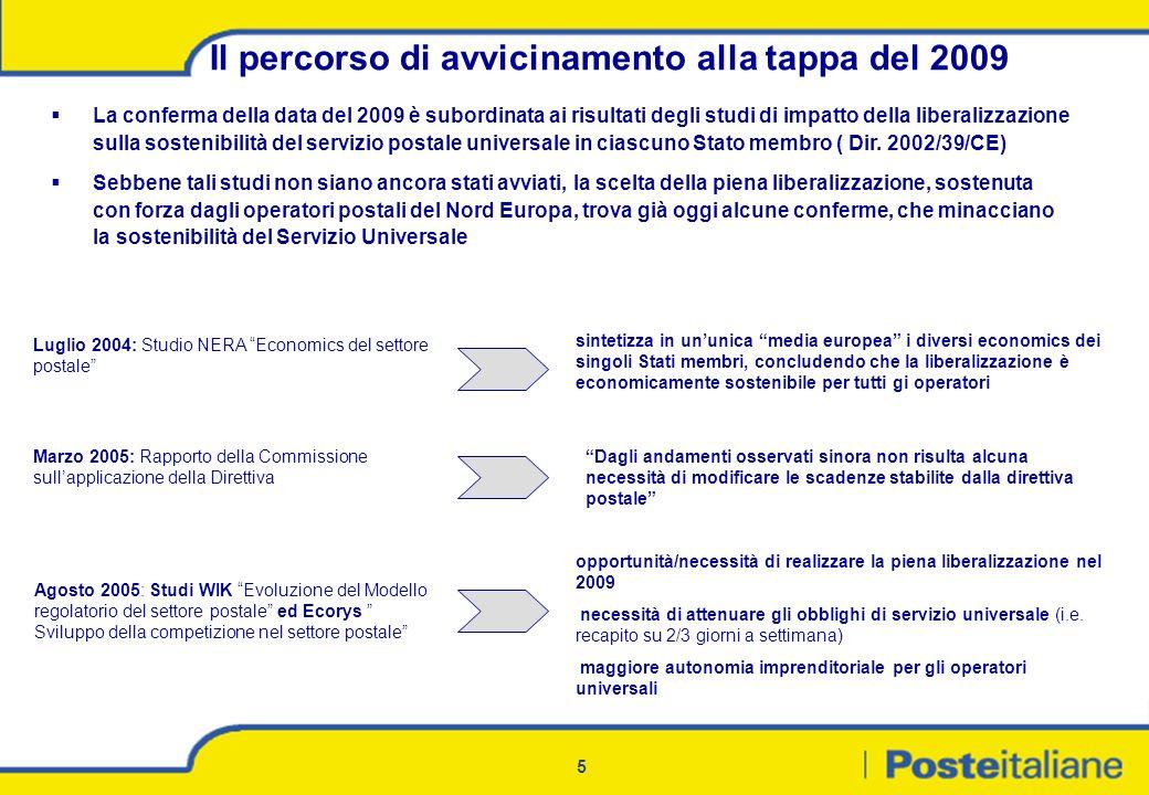 5 Il percorso di avvicinamento alla tappa del 2009 opportunità/necessità di realizzare la piena liberalizzazione nel 2009 necessità di attenuare gli o