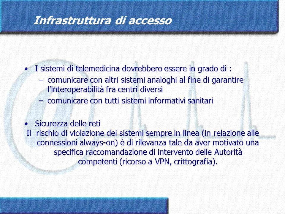 Infrastruttura di accesso I sistemi di telemedicina dovrebbero essere in grado di :I sistemi di telemedicina dovrebbero essere in grado di : –comunica