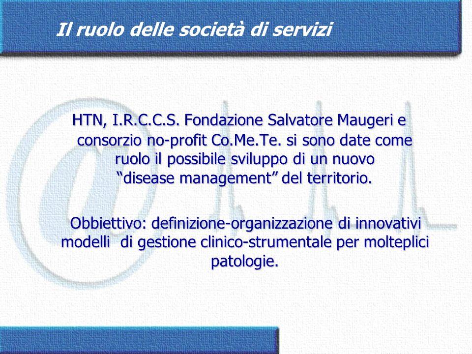 Il ruolo delle società di servizi HTN, I.R.C.C.S. Fondazione Salvatore Maugeri e consorzio no-profit Co.Me.Te. si sono date come ruolo il possibile sv