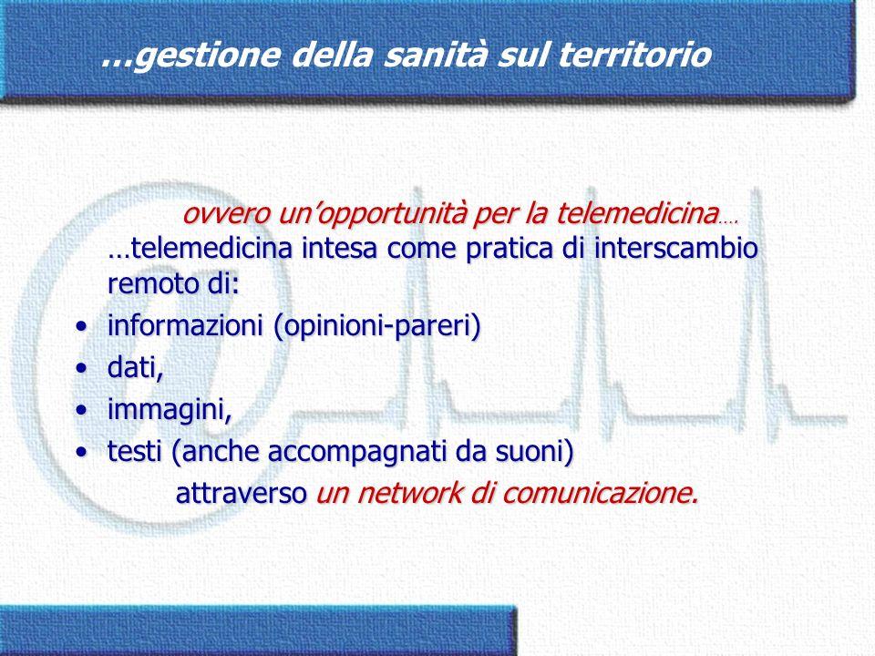 ovvero unopportunità per la telemedicina …. …telemedicina intesa come pratica di interscambio remoto di: ovvero unopportunità per la telemedicina …. …