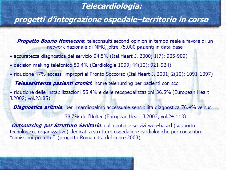 Progetto Boario Homecare: teleconsulti-second opinion in tempo reale a favore di un network nazionale di MMG, oltre 75.000 pazienti in data-base accur